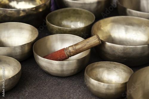 Fotobehang Zen Tibetan metal bowls