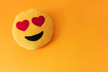 Yellow Background Smiley Smile Love Heart Pillow Orange Red Summer