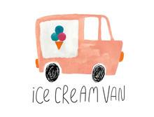Hand Drawn Gouache Ice Cream Van