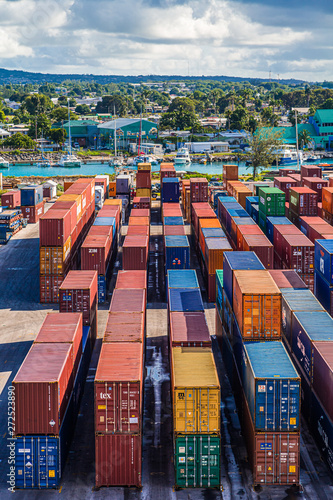 Photo  BRIDGETOWN, BARBADOS - November 22, 2016: Freighters now carry most of the world's cargo and the largest container ships can carry over 21,000 units of freight
