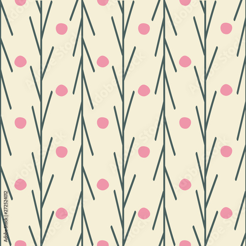 Cute Flower Rows Seamless Pattern In Pink With A Light Beige