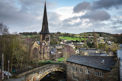Ripponden is a village and civil parish on the River Ryburn near Halifax in West Yorkshire, England Wallpaper Mural