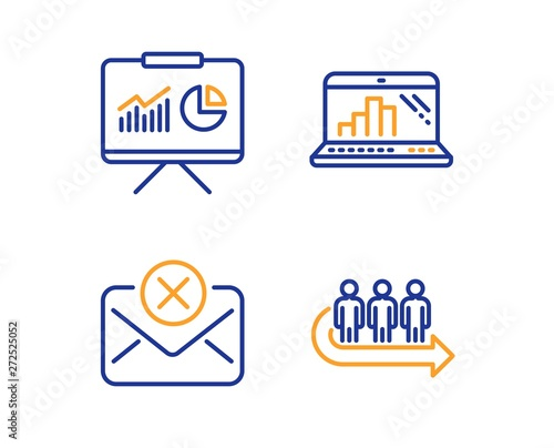Graph laptop, Presentation and Reject mail icons simple set