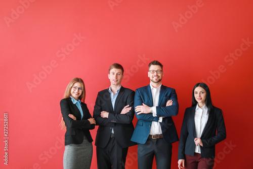 Fotografia  Team of business people on color background
