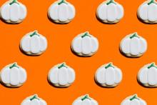 White Pumpkin Pattern On Orange