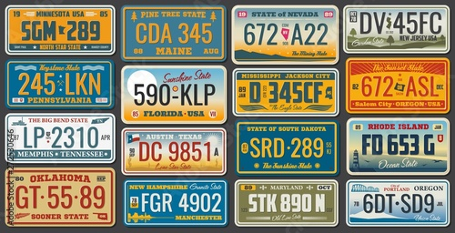 USA states ans cities vehicle registration plates