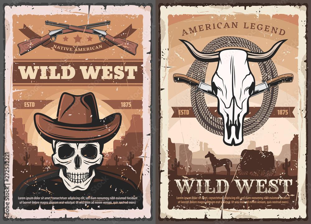 Fototapeta Wild West skull in cowboy hat, American Western