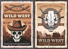 Wild West Skull In Cowboy Hat,...