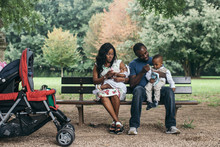 African Family Enjoying A Day In The Park
