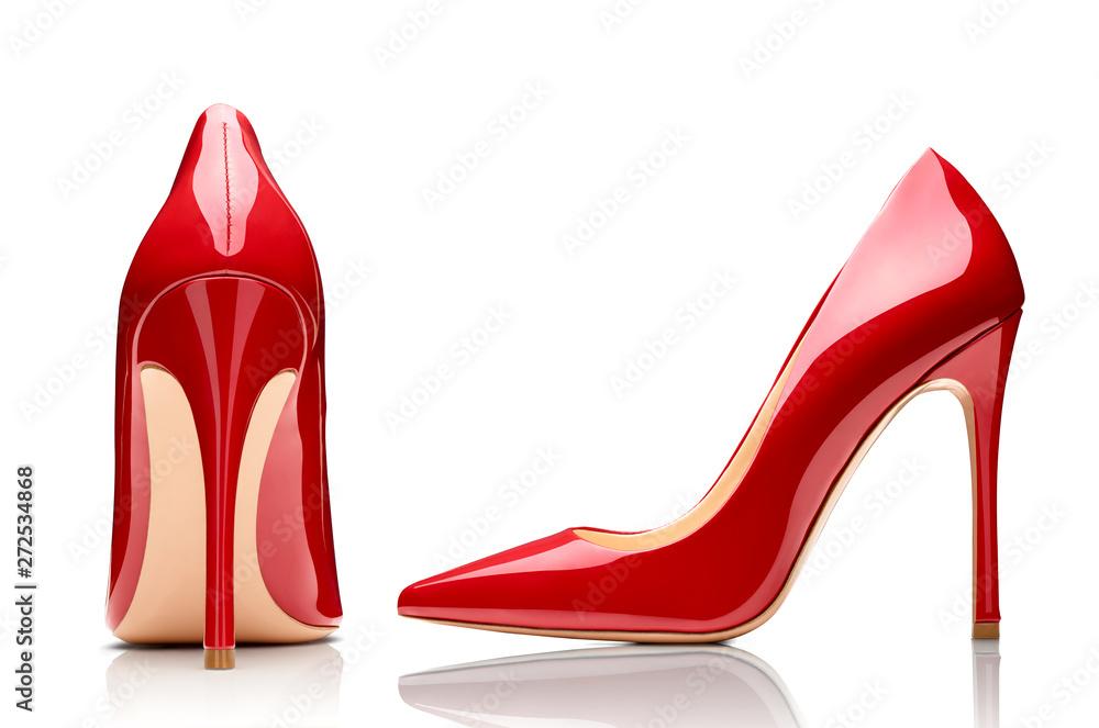 Fototapeta red high heel footwear fashion female style