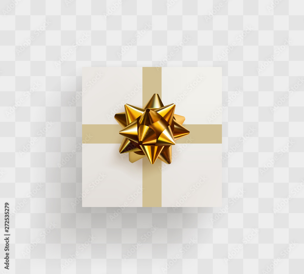 Fototapeta Decorative white gift box with realistic golden bow
