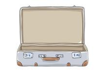 Empty Suitcase Vintagehand Drawn Art Vector Illustration