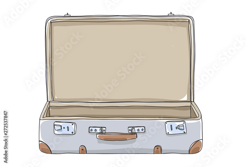Fototapeta empty Suitcase vintagehand drawn art vector illustration