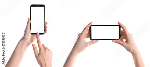 Foto  Set with women holding smartphones on white background, closeup of hands