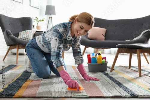 Valokuva  Portrait of woman cleaning carpet with brush in living room