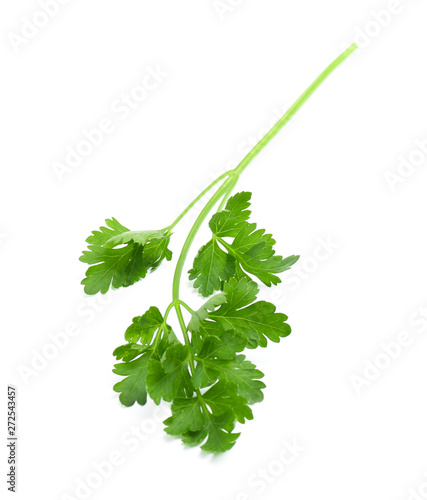 Foto  Leaves of fresh tasty parsley on white background, top view