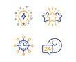Inspiration, World time and Star icons simple set. 24h service sign. Creativity, Measurement device, Customer feedback. Call support. Technology set. Linear inspiration icon. Colorful design set