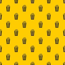 Popcorn In Striped Bucket Pattern Seamless Vector Repeat Geometric Yellow For Any Design