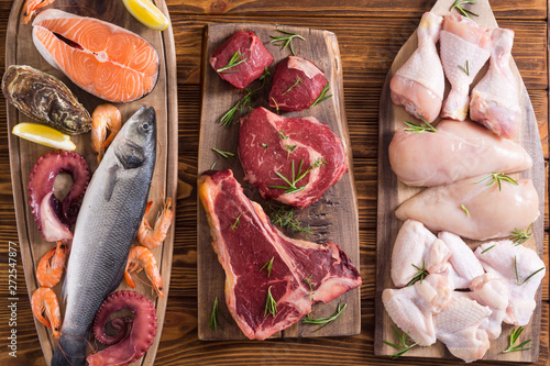 Assortment of meat and seafood Fototapet