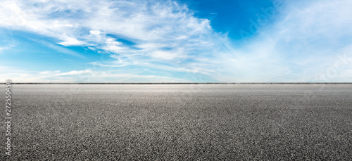 Empty highway road and sky clouds landscape,panoramic view