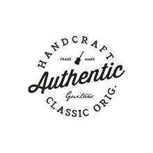 Guitar Shop Hand Written Lettering Logotype - Vector