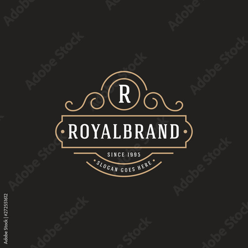 Luxury Logo template flourishes calligraphic elegant - Vector