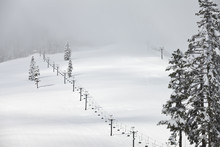 Ski Lift And Fresh Snow In The...