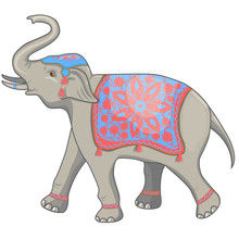 Indian Elephant Festival Vector Illustration. Isolated On White Background.