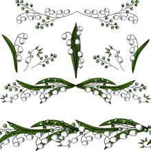 Lily Of The Valley Vector Set:  Seamless Pattern With Lilies, Frame,  Lily Of The Valley Vector Isolated Elements On A White Background