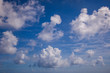 White fluffy clouds with a beautiful blue sky