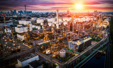 Aerial View Oil Refinery, Refinery Plant, Refinery Factory At Sunset, Shot From Drone Of Oil Refinery And Petrochemical Plant