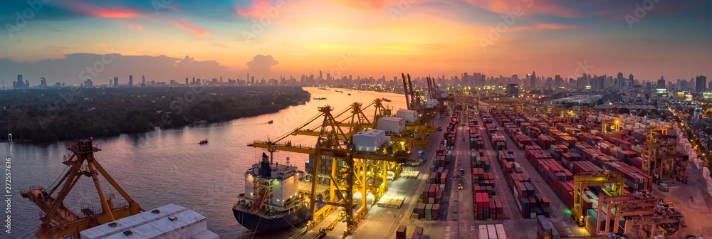Fototapety, obrazy: Logistics and transportation of Container Cargo ship and Cargo plane with working crane bridge in shipyard at sunrise, logistic import export and transport industry background