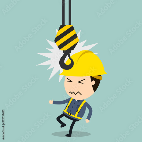 Fotomural Collision with Crane, Vector illustration, Safety and accident, Industrial safet