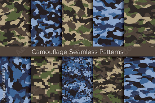 Seamless vector pattern set. Camouflage background. カモフラージュ背景のベクターパターンセット