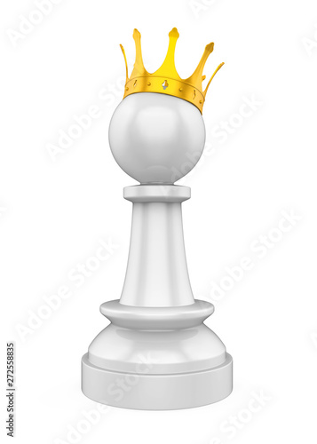 Fotografie, Obraz  Chess Pawn with Golden Crown Isolated