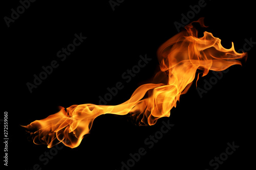 Keuken foto achterwand Vuur movement of fire flames isolated on black background.