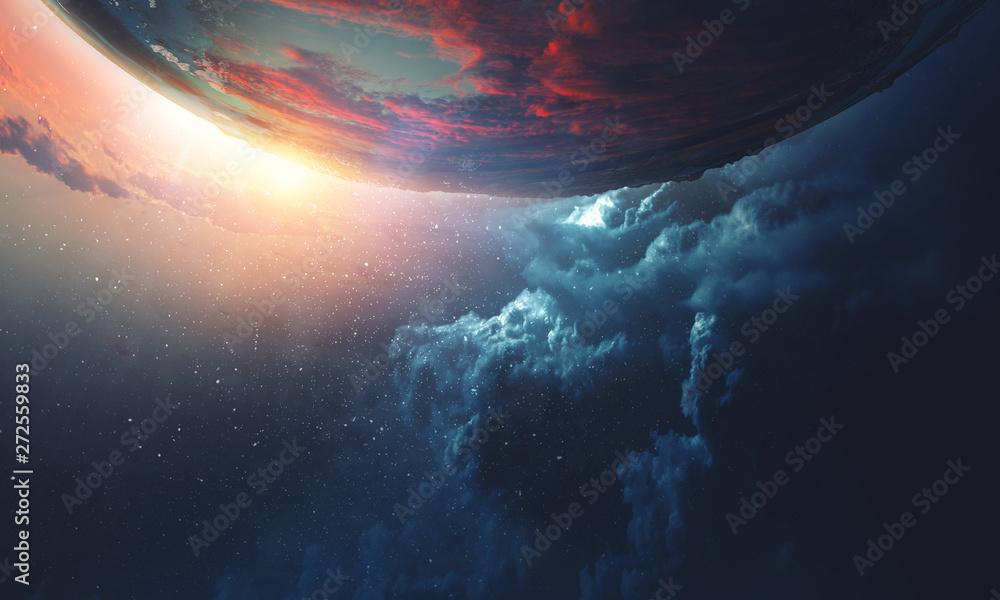 Fototapeta Deep space beauty. Planet orbit.