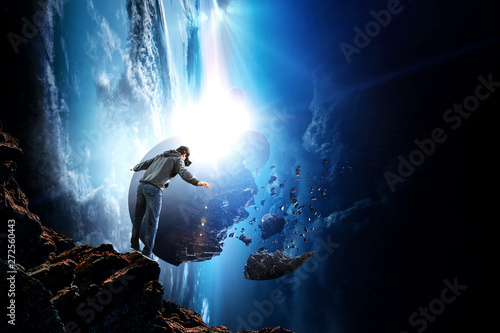 Virtual reality experience, young man in VR glasses Canvas Print
