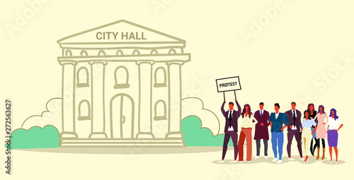 businesspeople group holding protest placard signboard people crowd standing together demonstration concept municipal government building city hall sketch doodle horizontal full length