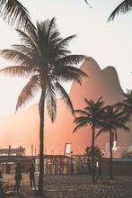Beautiful Sunset In Rio De Janeiro Leblon Dois Irmaos Mountain
