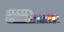 Group Of People Passengers Waiting For Tour Bus Tourists Men Women Crowd At City Public Transport Station Sketch Doodle Horizontal