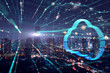 Leinwandbild Motiv Double exposure the city and clouds technology,Futuristic computer digital Abstract  background.Big Data Concept