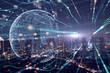 Leinwandbild Motiv Night city bouble exposure of Global  Futuristic computer digital Abstract.cyber space technology background concept