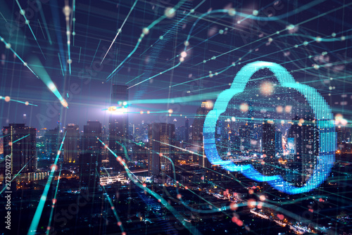 Double exposure the city and clouds technology,Futuristic computer digital Abstract  background.Big Data Concept - 272570272