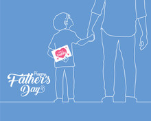 "Happy Father's Day Copy Space. Hand Drawn Cartoon Son Holding Father's Hand With A Card Written Text ""Love You Daddy"" In White Line Art Style Isolated On Plain Blue Background."