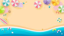 Summer Beach Background Vector...