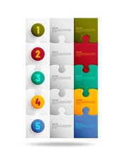 Jigsaw Puzzle Background With Many Colorful Pieces. Infographic Mosaic Template