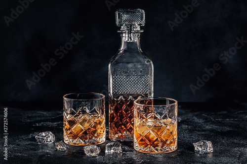 Glasses of the whiskey with a square decanter Wallpaper Mural