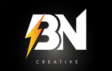 BN Letter Logo Design With Lig...