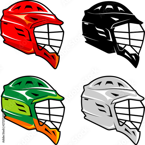 Lacrosse Helmet Set Wallpaper Mural